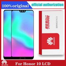 Pantalla LCD 100% Original con marco + huella dactilar para HUAWEI Honor 10, montaje de digitalizador con pantalla táctil COL L29, piezas de reparación