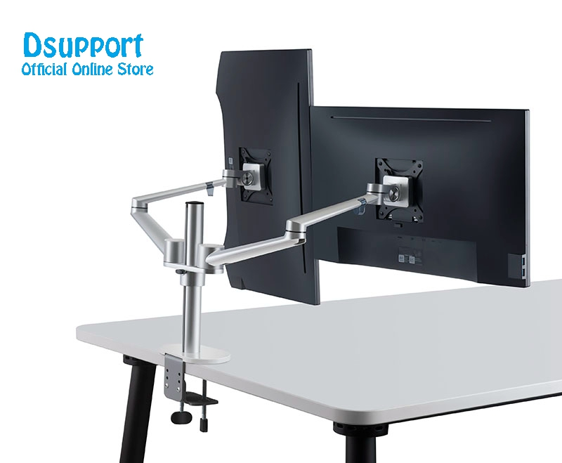 Aluminum Alloy LCD LED dual Monitor Holder Arm Bracket 360 Degree Rotatable Computer Monitor holder Stand OL-2 title=