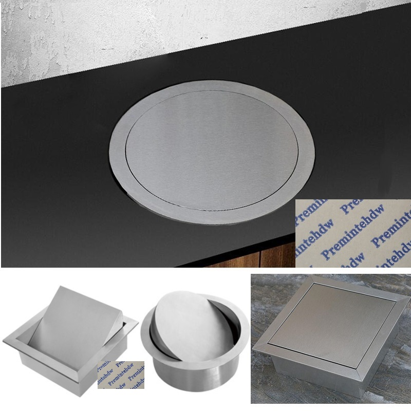 304 Stainless Steel Square Round Built-in Drop In Counter Bench Top Trash Waste Garbage Chute Flip-top Cover Lid Hotel Public