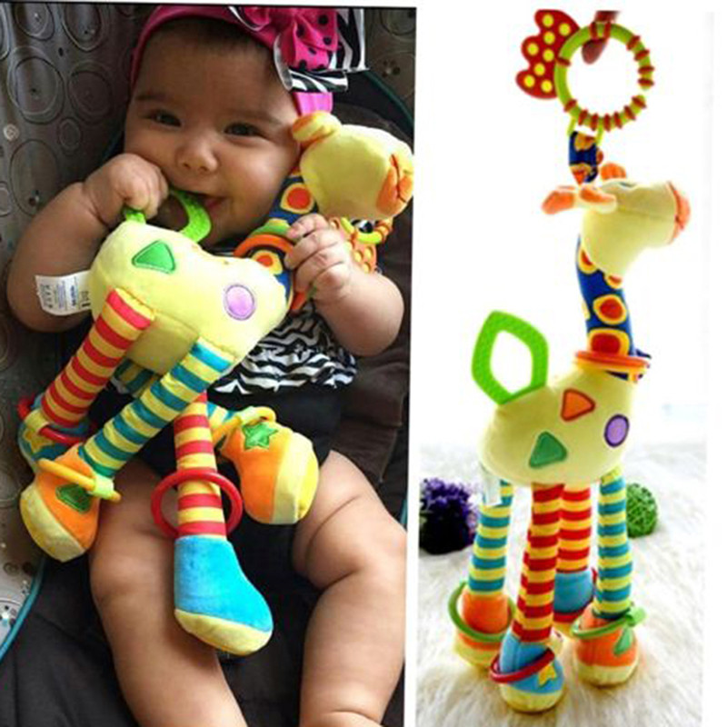 Infant Plush Soft Giraffe Animal Handbells Rattles Handle Mobile Stroller Toys With Teether Baby Toy Playing Doll