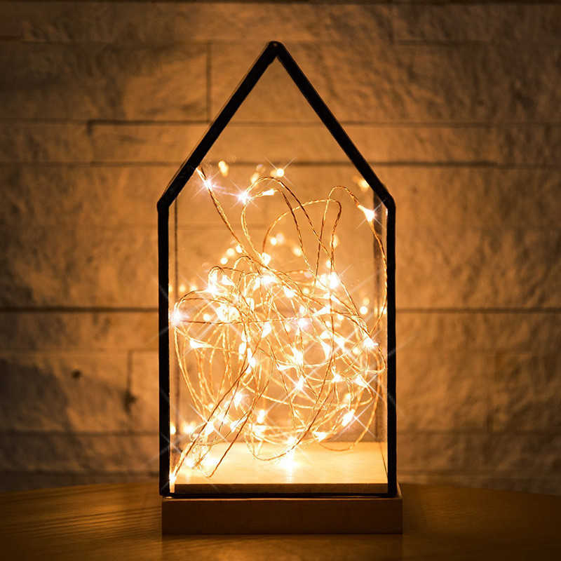 Feimefeiyou 50 100 LED Outdoor Light String Fairy Garland Battery Power Copper Wire Lights For Party Christmas Wedding 5 Colors 4