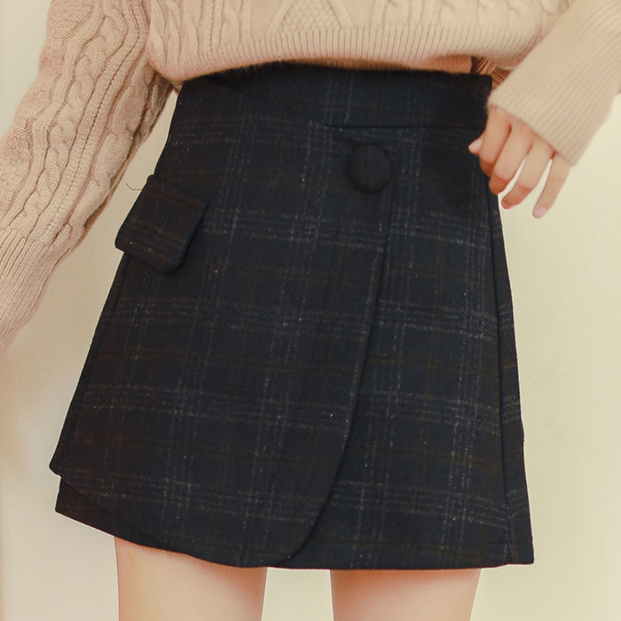 Autumn And Winter WOMEN'S Dress One-Piece Autumn And Winter New Style Irregular Slimming Versatile Plaid Woolen A- Line Skirt Ha