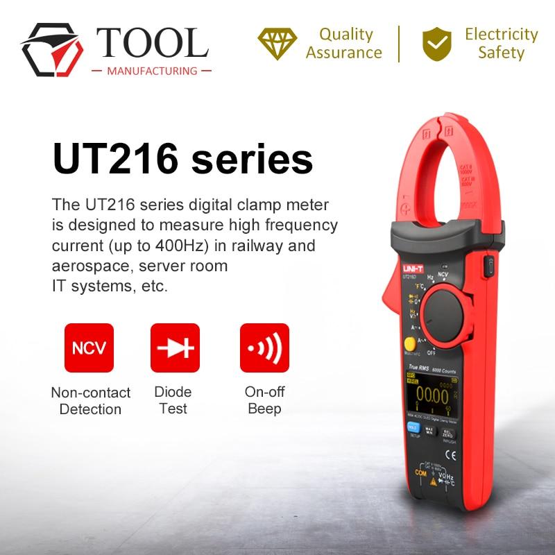 UNI-T UT216C 600A True RMS Digital Clamp Meter Multímetro gama Automático UM Capacitor Freqüência Temperatura NCV Teste Clamp Meter