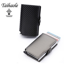 2020 RFID Fashion Men's Carbon Fiber Leather Credit Card Holder Automatic Aluminum Metal Cardholder Male Wallet Slim Case Purse