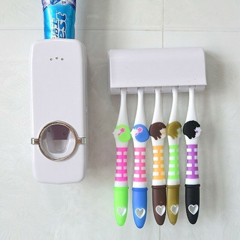 Automatic Toothpaste Toothpaste Holders Toothbrush Dispenser+ 5 Toothbrush Holder Set Wall Mount Stand Holder image