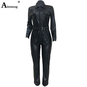 Image 4 - Women Fashion High Waist PU Leather Jumpsuits Lace up Skinny Bodysuits Girls Zipper Faux Leather Spring Winter Sexy Overalls