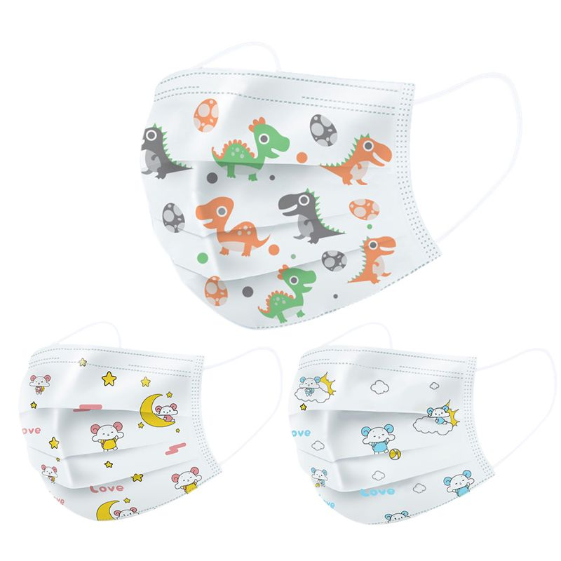 50Pcs Infant Baby Kids Disposable 3-Ply Mouth Mask Colorful Cartoon Dinosaur Printed Melt-Blown Dustproof Face Cover