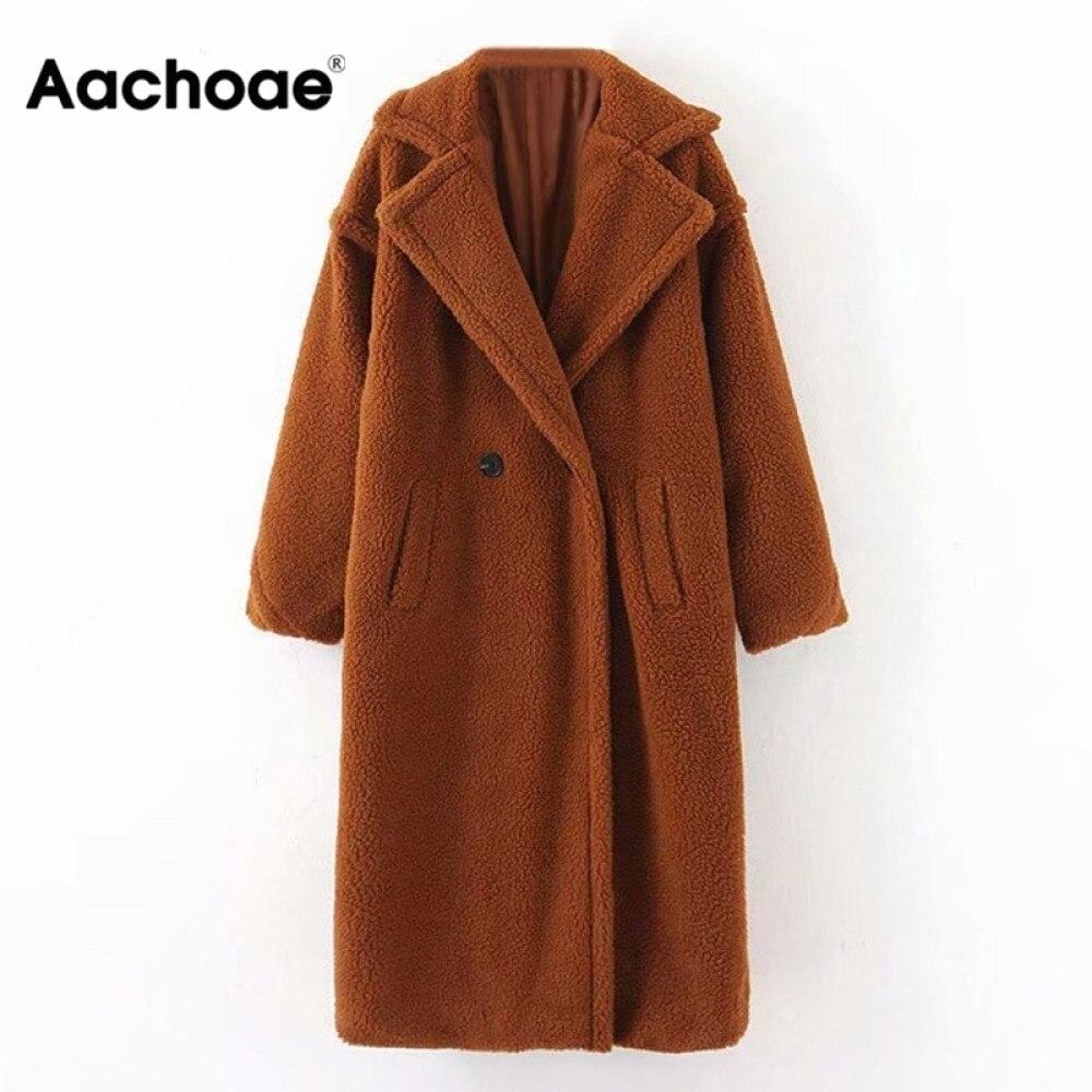 Permalink to Aachoae Winter Casual Solid Teddy Coat Women Long Sleeve Fleece Long Jacket Turn Down Collar Lamb Fur Coat Outerwear Fourrure