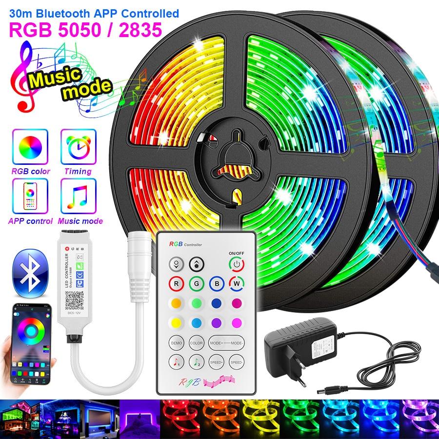 RiRi won SMD 5050 RGB LED Strip Light 2835 10M 5M LED Lights rgb Leds tape diode ribbon Flexible Bluetooth Control DC12V Adapter