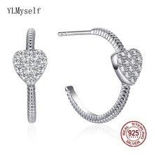 Настоящее серебро круглые серьги ювелирные изделия романтические