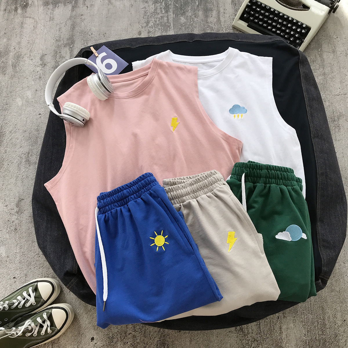 New Style Set Beach-Style Teenager Embroidery Hong Kong Style Summer Loose-Fit Couples Casual Shorts T-shirt Two-Piece Set