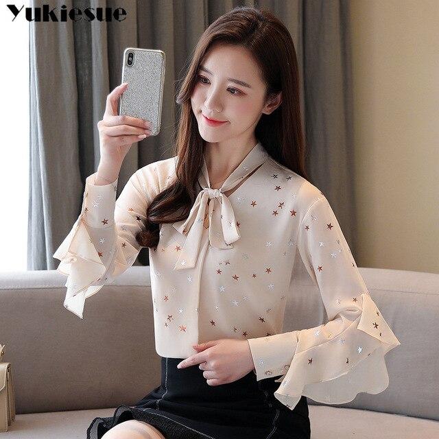 fashion woman blouses summer long sleeve bow collar women's shirt blouse  women blusas womens tops and blouses chiffon shirts 4