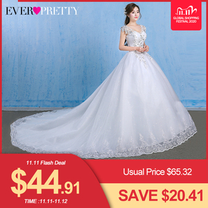 Image 1 - Luxury Plus Size Wedding Dress Elegant Lace Appliques V neck Beading Wedding Gowns 2020 Crystal Lace Up White Vestido De Noiva