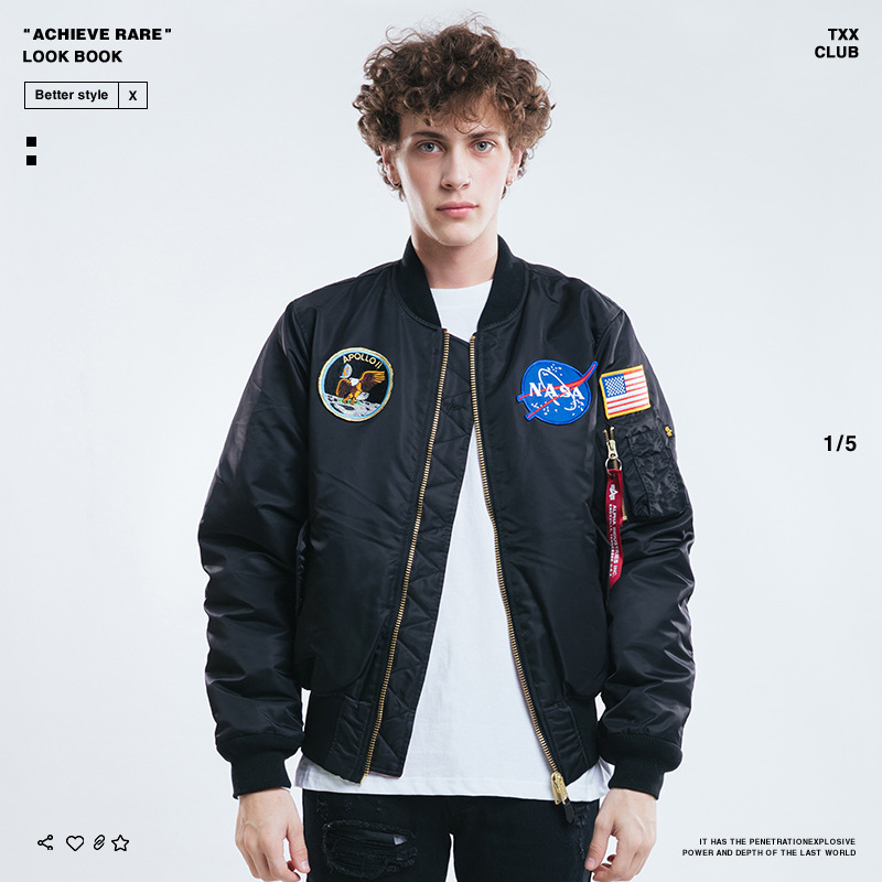 2018 Europe And America Popular Brand Spring And Autumn New Style Men'S Wear NASA Embroidered Jacket Double-sided Wear MEN'S Cot