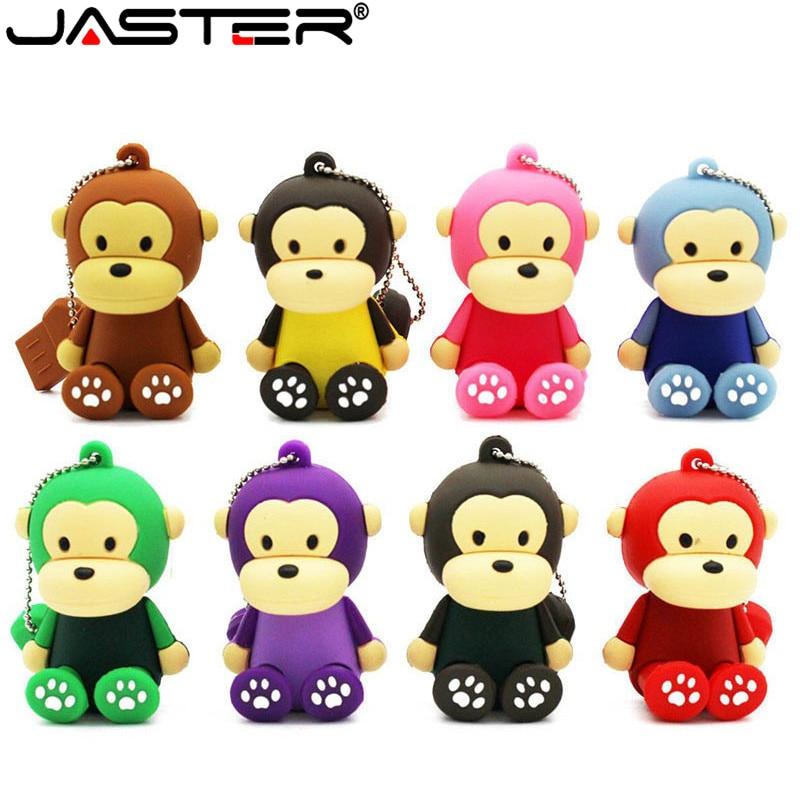 JASTER Cartoon Cute Monkey USB Flash Drive Pendrive 4GB 8GB 16GB 32GB 64GB USB Stick External Memory Storage Pen Drive Cute Gift