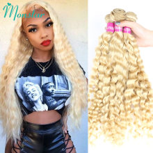 Monstar-Paquete de extensiones de cabello humano 613 rizado malayo, 28 pulgadas, cabello rubio platinado ondulado, Remy, 1, 3, 4 ofertas de extensiones, envío gratis