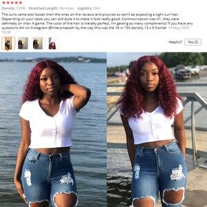 Image 4 - Krn 99j borgonha vermelho curto perucas de cabelo humano pré arrancadas encaracolado loira peruca dianteira do laço 13x6 laço frontbrazilainremy peruca 180 densidade
