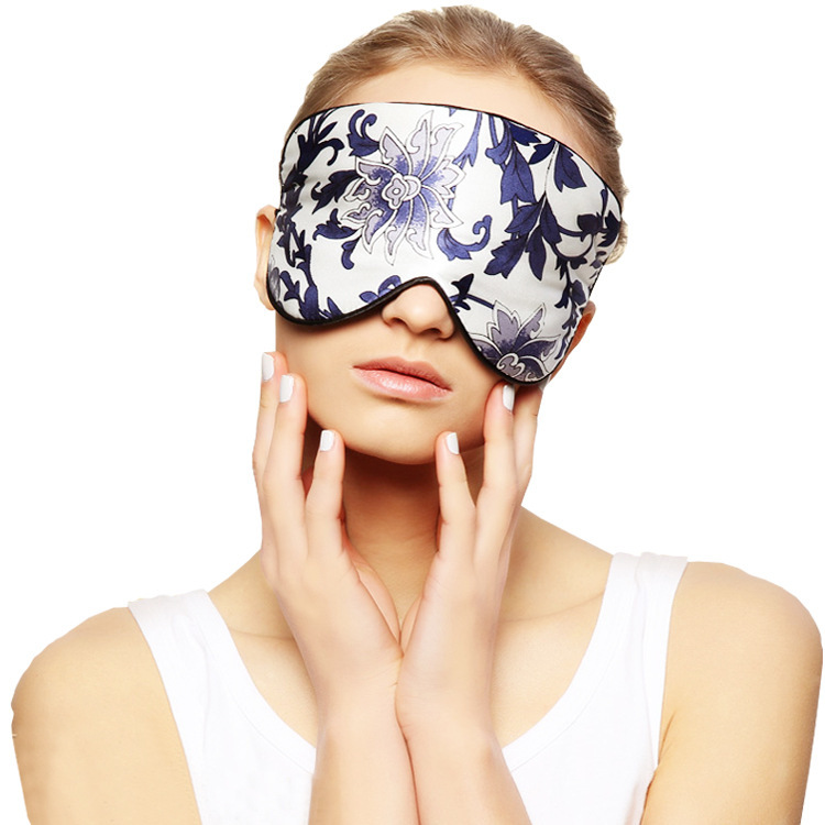 Extra-large Thick 100 Silk Sleep Facemask Silk Eye Mask Silk Mask Blue And White Porcelain Eye Cover Sleeping Eyeshade