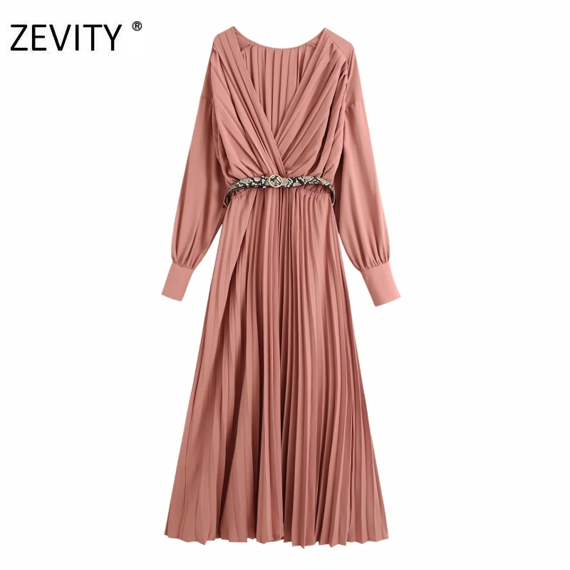 ZEVITY New Women vintage cross v neck solid long pleated Dress Office Ladies sexy snake skin sashes Vestidos Chic Dresses DS4378