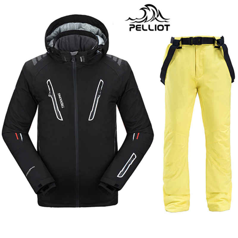 Free Shipping Authentic! Pelliot Ski Jacket+Pants Men's Water-proof,Breathable Thermal Snowboard Out Coat Men Ski Suits