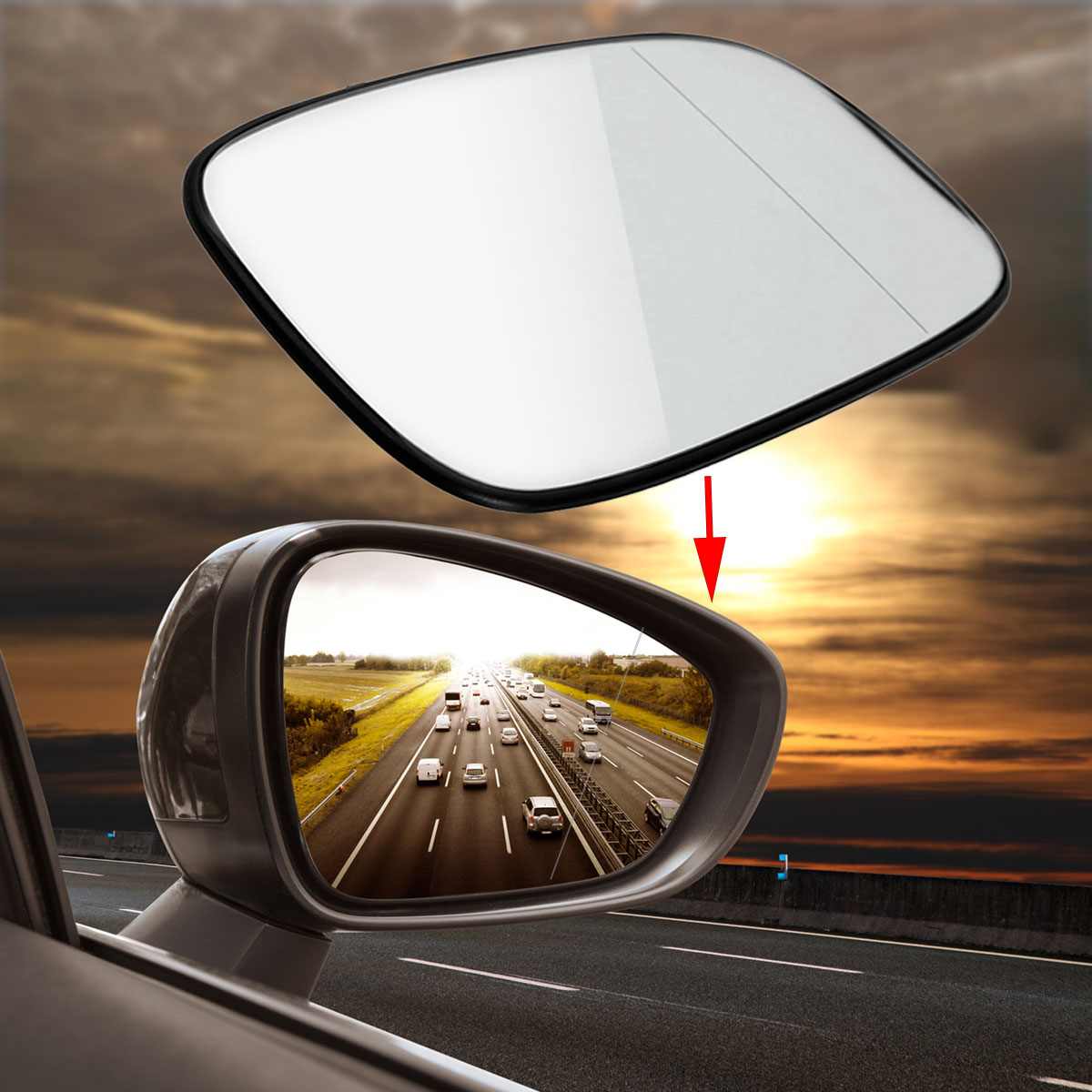 New Door Mirror Glass Replacement Driver Side For Saab 9-3 900 9-5