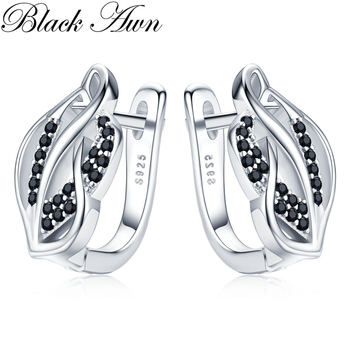 Black Awn Classic 925 Sterling Silver Round Black Trendy Spinel Engagement Hoop Earrings for Women Fine Jewelry Bijoux I150 [black awn] wedding stud earrings for women genuine 925 sterling silver jewelry black spinel stone boucle d oreille brincos t038