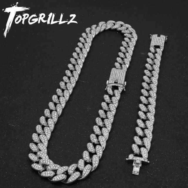 TOPGRILLZ חדש אופנה 20mm קרח החוצה כבד היפ הופ שרשרת עם משלוח צמיד סגסוגת קובני שרשרת סט לגבר נשים מתנה
