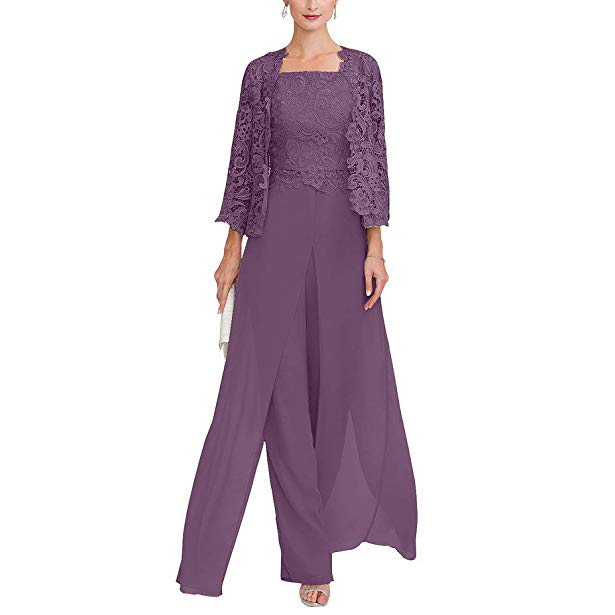 Элегантный серый Кружевной Костюм для матери невесты, длинные шифоновые вечерние платья размера плюс, 2019