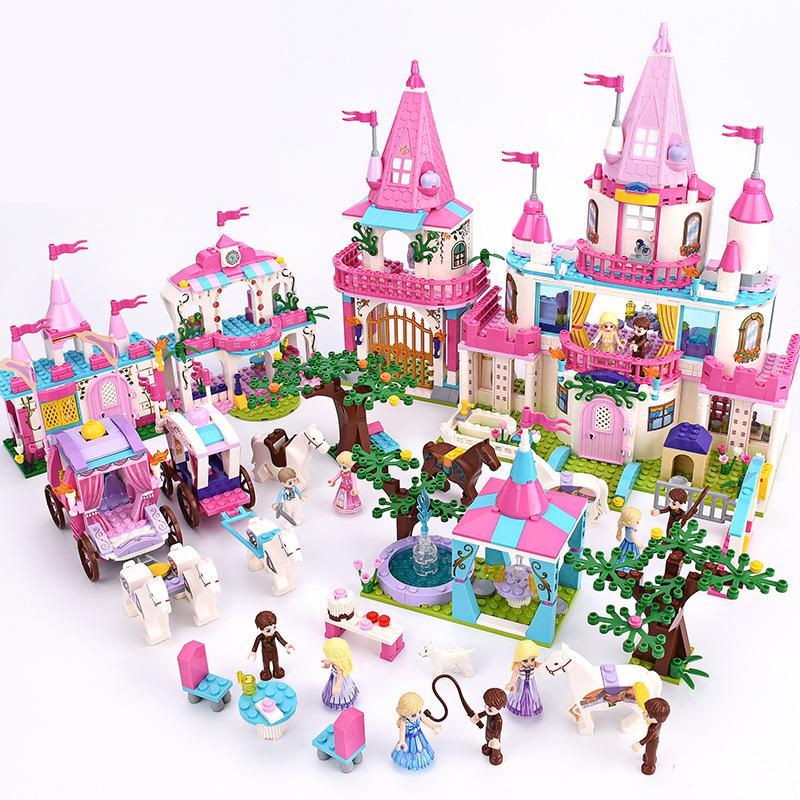 9009 Pink Castle Bricks Building Blocks Royal Carriage Shower Bath For Princess Alice Girls 9013