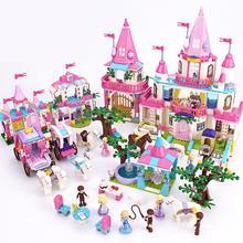 9009 Pink Castle Bricks Building Blocks Royal Carriage Shower Bath For Princess Alice Girls 9013 lx 9009 cozy fiber bath towel shower cap deep pink