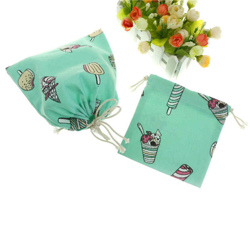 1pc 14cmX16cm Cotton Linen Storage Bag Ice Cream Drawstring Travel Makeup Pouch Shoes Bag