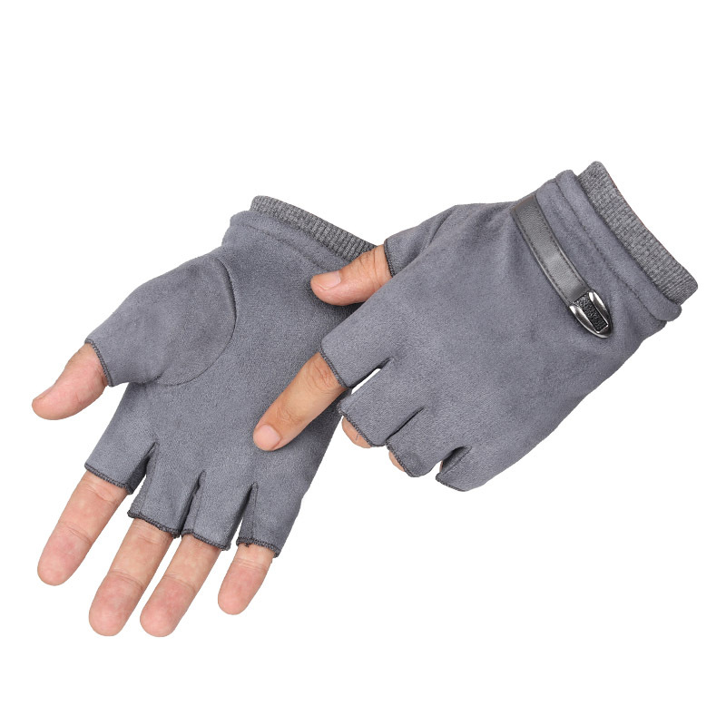 Fingerless Men Gloves Driving Suede Leather Black Grey Half Finger Men Elastic Gloves Outdoor Bike Mittens Winter Warm Gloves