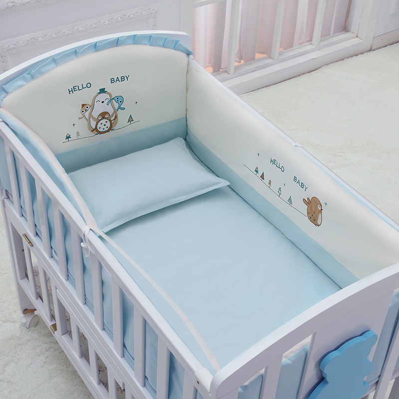 5Pcs/Set Cartoon Animated Crib Bed Bumper For Newborns Comfortable Children's Bed Protector Knot Baby Bed Bumper Toddler Bed Set