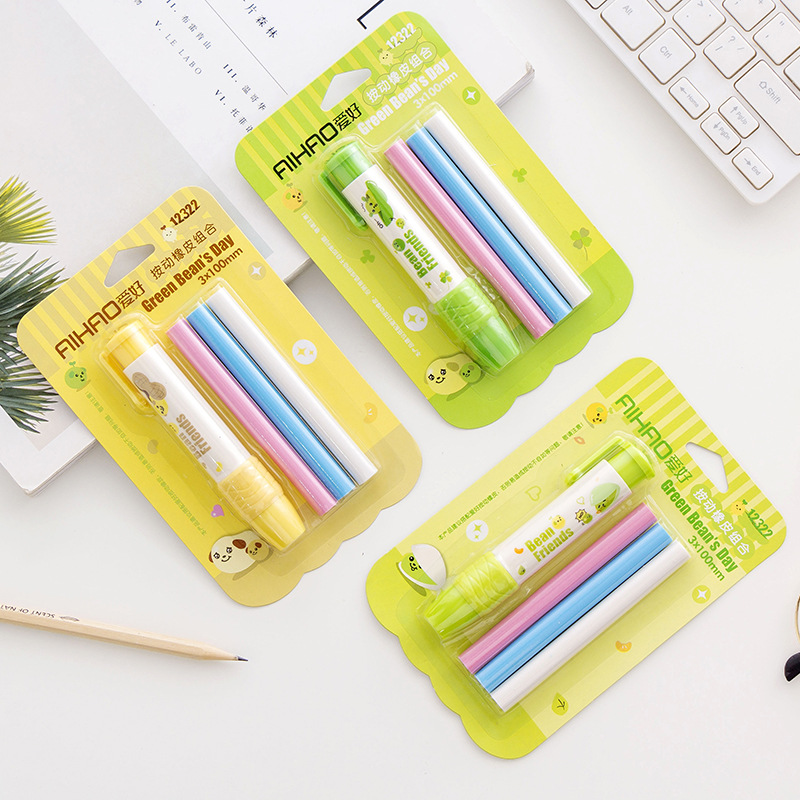 Color Rubber Core Press Eraser Set School Student Stationery Pencil Eraser Easy To Use Don't Dirty Hands