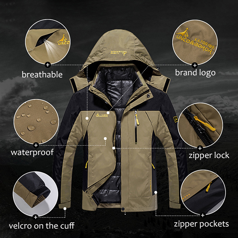 Waterproof Winter Jacket Men Thick Parka Coat Hooded Windbreaker Two Jackets In One Multi Pockets Plus Size 5XL 6XL Dropshipping