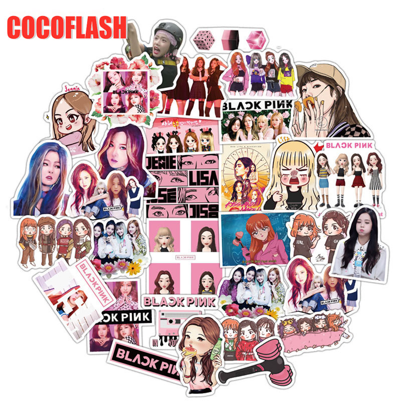 10/54Pcs/set Kpop Black Pink Women Team Cartoon Stickers For DIY TOY Guitar Scrapbook Skateboard Snowboard Laptop Luggage