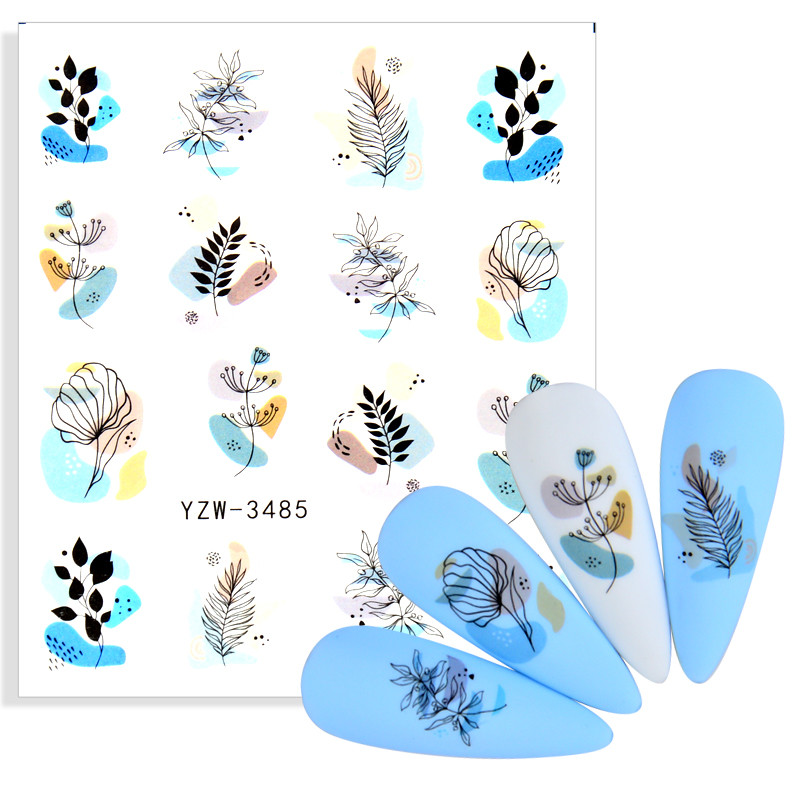 Black Flowers Nail Decals Sliders Set Floral Leaves Geometry Water Wraps Tattoo Spring Designs DIY Manicure Foils