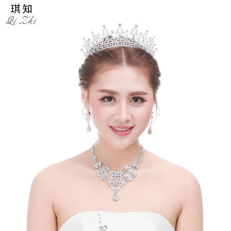 Koreanischen Stil Legierung Menschen Verursachten Diamant Braut Hochzeit Kleid Ornament Ohrringe Drei Stücke Wasser Tröpfchen Ehe-Stil Abendessen Artikel