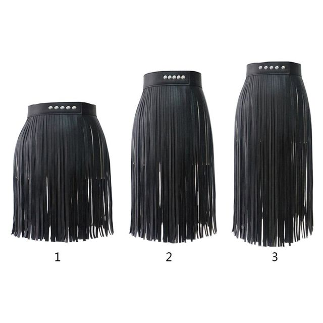 Women High Waist Faux Leather Fringe Tassels Skirt Body Harness with Snap Buttons Halloween Party Punk Rock Costume Clubwear 1