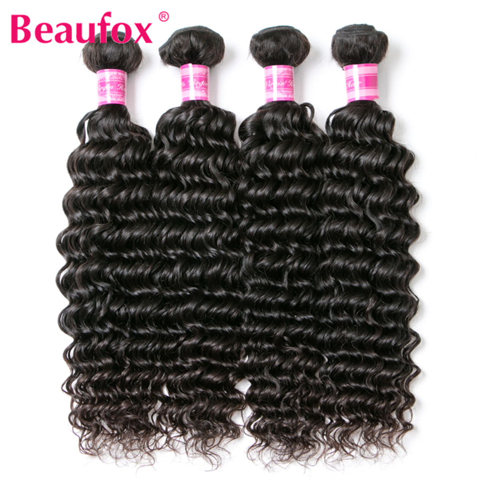 Beaufox Brazilian Deep Wave Bundles With Closure Human Hair Bundles With Closure Remy Brazilian Hair Weave Bundles With Closure 4