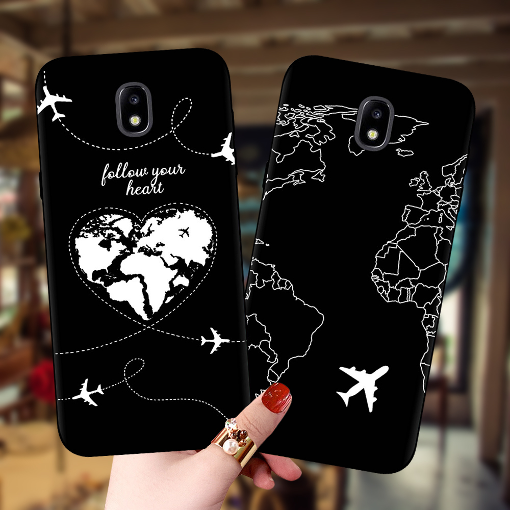 World Map Planes Travel Black Soft Case For Samsung Galaxy J3 J5 J7 2017 J530 J4 J6 Plus J7 J8 2018 Note8 Note9 Note10 Pro Cover