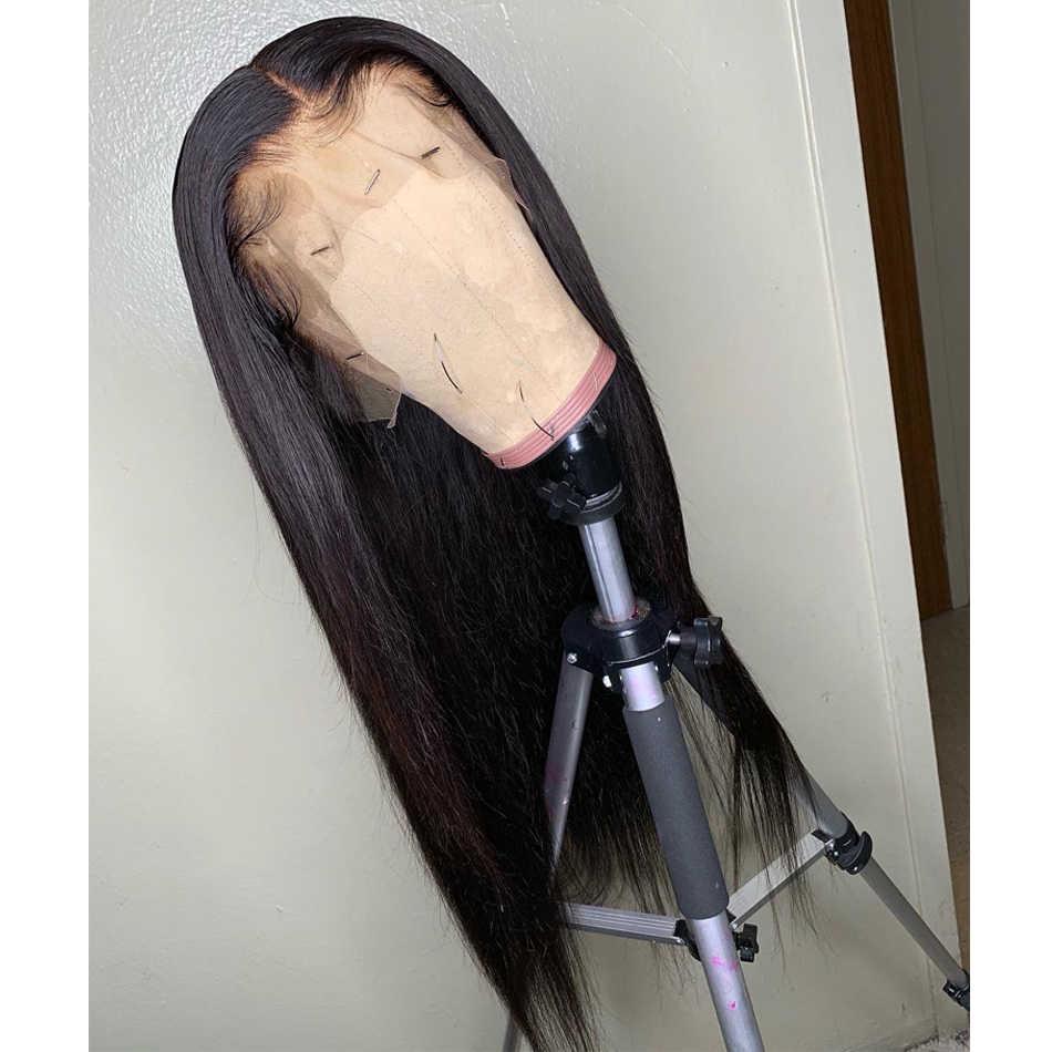 Karizma peluca Frontal recta de encaje 150 densidad Remy pelo humano brasileño recto sin pegamento 13X6 pelucas frontales de encaje para mujeres negras