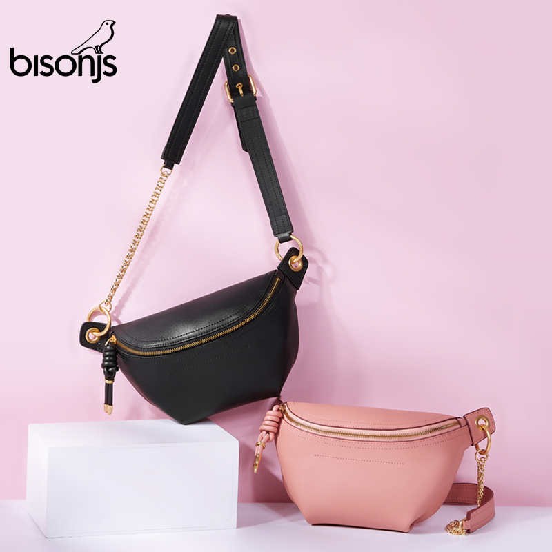 BISONJS Leather Female Shoulder Bag Multifunctional Chect Fanny Pack Women Fashion Waist Belt Bag B1818
