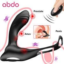 Carregamento usb anel de vibração sexo masculino brinquedo aquecimento prostata massageador para o homem 10 velocidades controle remoto sem fio cortiça anal butt plug