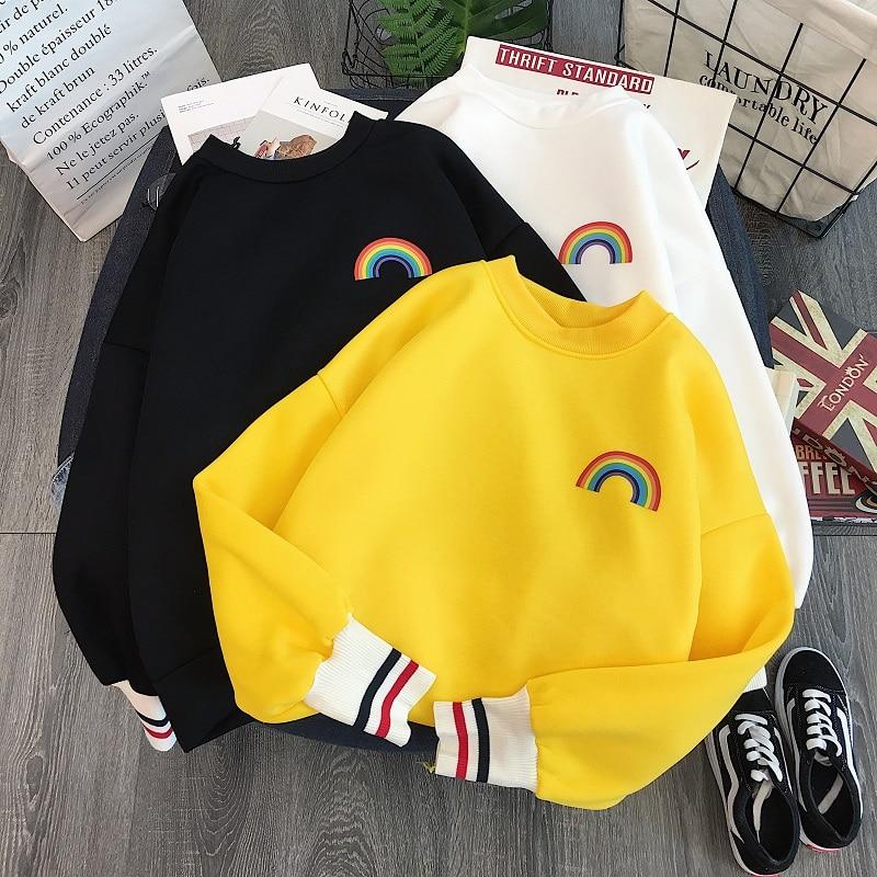 Harajuku Rainbow Embroidery Fleece Hoodies Women Korean Kawaii Sweatshirts Usagi 90s Aesthetic Oversized Hoodie Girl Streetwear