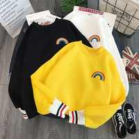 Harajuku arco-íris bordado velo hoodies feminino coreano kawaii sweatshirts usagi 90s estético oversized moletom com capuz menina streetwear