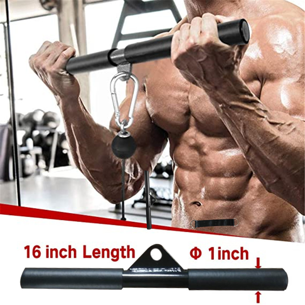 1x Straight Bar Cable Machine Attachment Part Pull Down Biceps Indoor Gym Solid