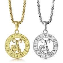 Collier signe du zodiaque des 12 constellations, couleur or et argent, pendentif en forme de pièce de monnaie, boîte à breloques, chaîne, bijoux à la mode, cadeaux