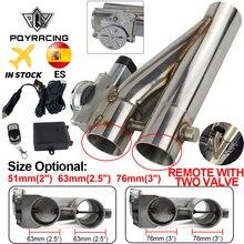 "Universal 2,5 /3"" doble válvula de escape eléctrico válvula de corte silenciador de tubo de escape Kit con PQY EMP86 de Control remoto inalámbrico"