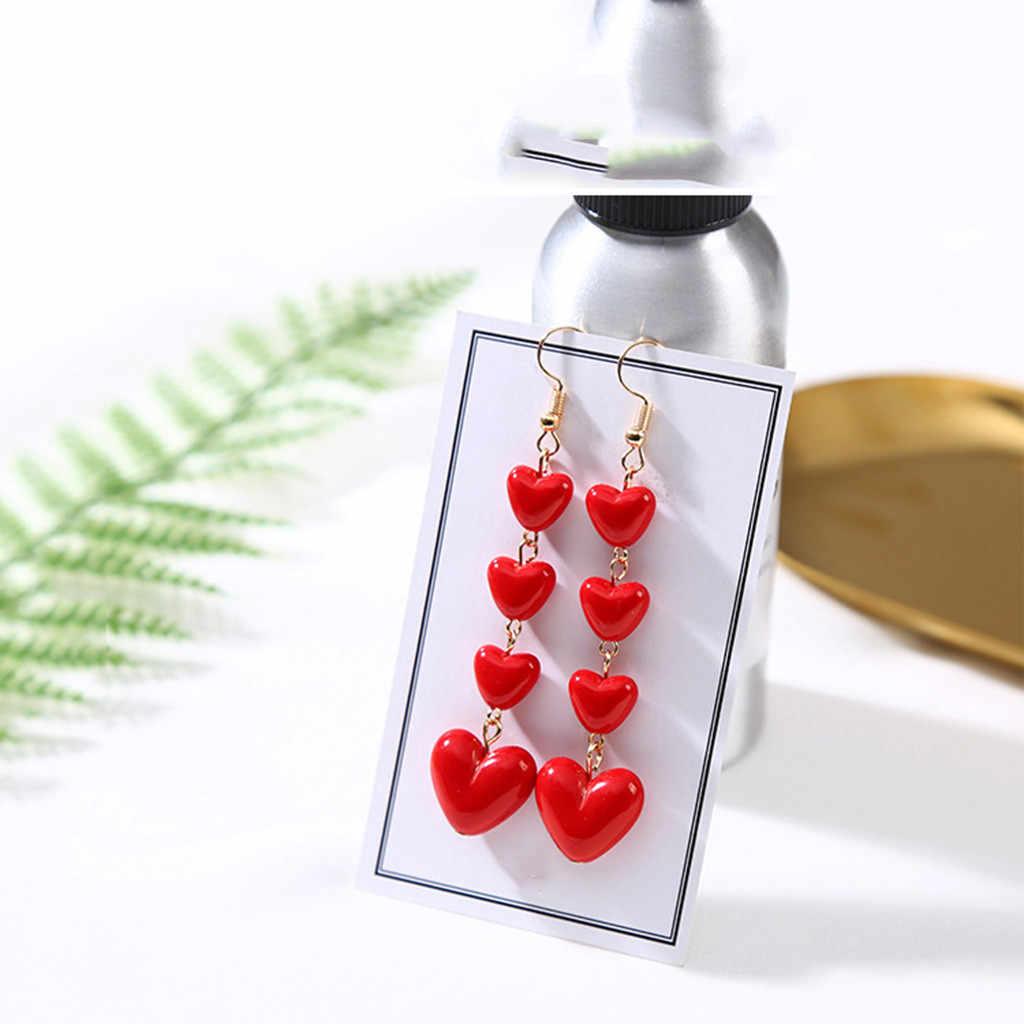 Weihnachten Ohrringe Vintage Lange Anhänger Red Heart-shaped Ohrringe Damen Schmuck Zubehör Modus Ohrringe Ohrringe Bohemian